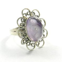 Amethyst 925 Sterling Solid Silver Chunky Statement Cocktail Ring Size7  #Handmade #Ring