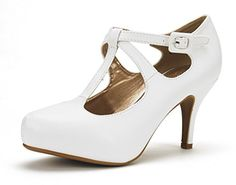 DREAM PAIRS OFFICE-5 Women's New Classic Mary Jane Almond Toe High Heel Platform Pumps Shoes White-PU Size 8... Feel comfortable with every step you take with these cute low platform heel! Featuring faux leather upper, classic mary jane design, close toe, low platform heel, strap buckle closure style, and finished with cushioned insole for comfort.FITTING TIPS: TRUE TO SIZE, WIDE WIDTH CUSTOMERS ORDER......http://bit.ly/2jyZqIu