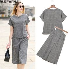 Summer fashion Plaid tops + pants 2 piece set women Casual loose two piece set Office Suit Set womens tracksuit Plus Size Night Dress For Women, Pants For Women, Clothes For Women, Stylish Dresses, Dresses For Work, Chic Outfits, Fashion Outfits, Loungewear Outfits, Skirt Patterns Sewing