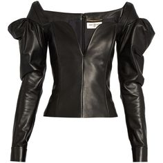 Saint Laurent Sweetheart-neckline leather top ($3,280) ❤ liked on Polyvore featuring tops, black, long tops, cut-out shoulder tops, sweetheart neck top, open shoulder top and sweetheart neckline tops