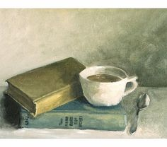 Coffee and books print, still life, art print from original painting, coffee cup, antique books, blue, mustard, wall decor, original art on Etsy, $18.00