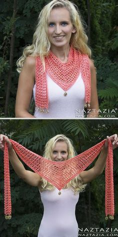 V Scarf, free pattern from Naztazia. 325 yds sport weight yarn, hook size 'G'. Nice lightweight accessory for warm weather. V Scarf, free pattern from Naztazia. 325 yds sport weight yarn, hook size 'G'. Nice lightweight accessory for warm weather. Gilet Crochet, Knit Or Crochet, Crochet Scarves, Crochet Shawl, Crochet Crafts, Crochet Clothes, Crochet Projects, Crochet Summer, Easy Crochet