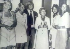 Ma Kelly with her older grandchildren. From Left to Right: Meg Davies, Grace Levine, Chris Levine, Ma Kelly,Princess Caroline Grimaldi and Mary Lee Davies. c. 1976.