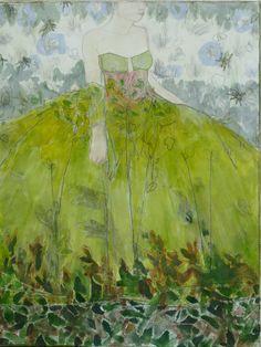 Femme en robe verte - 110x84