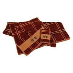 HiEnd Accents Pine Cone 3 Piece Bath Towel Set Plaid - TL5100-OS-PL