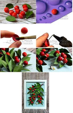 Cherry box step by step Ideas Quilling, Quilling Flowers Tutorial, Paper Quilling Flowers, Quilling Paper Craft, Quilling Patterns, Quilling Designs, Paper Crafts, Quilling Comb, Neli Quilling