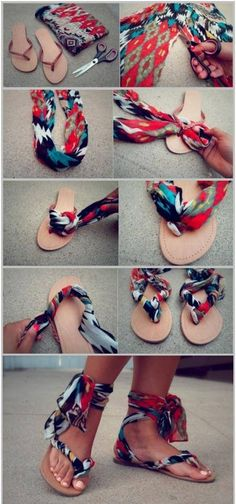 Gutsy up some cheap/ ugly flats with extra fabric or scarf.
