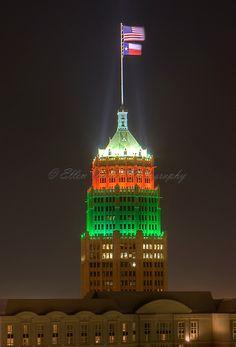 Tower Life Building with Christmas Light at San Antonio, Texas
