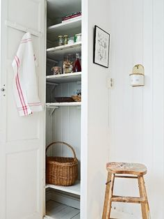 Beadboard on the back; shelf supports. Old screen door as the door- perfect!
