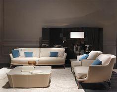 Paul Mathieu - Contour sofa, armchairs, coffee table and folding screen #PaulMathieu #LuxuryLivingGroup