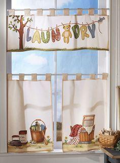 Nostalgic Laundry Room Cafe Curtain Set | Cafe Curtains, Laundry ...