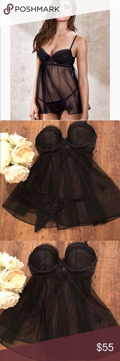 Victoria's Secret Babydoll Lingerie Set in Black NWT!!! Perfect for Valentine's Day!! Victoria's Secret Very Sexy Lace-trim Babydoll Top is 34C and One size fits all Thong, thong is new without tags! This sexy babydoll is all show, with push-up padding, a flyaway back and a matching panty. Push-up padding with underwire cups Elastic under bust Back hook-and-eye closures Lace cups Sheer skirt with flyaway back Victoria's Secret Intimates & Sleepwear Bras