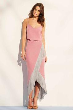 falda de fiesta midi rosa cuarzo con flecos para boda evento comunion bautizo graduacion de nubbe en apparentia