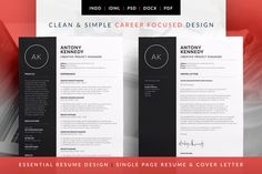 Essential Resume - CV template with matching Cover letter. Professional, career focused design. Antony ~ Resume Templates on Creative Market