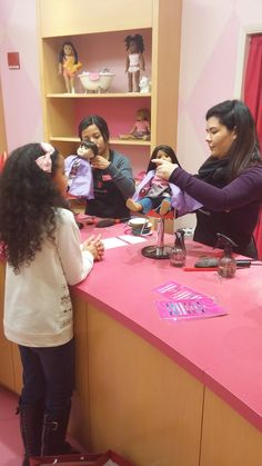 Hair Salon for American Girl Doll at The American Girl Place in Chicago on Michigan Ave.