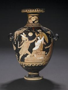 red-figured hydria, IVth century BC Depicted on this hydria is the rape of Kassandra by the lesser Ajax, son of Oileus, in Athena's temple at Troy.