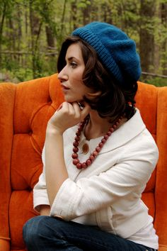 Vintage Vibrant Cobalt Blue Beanie / Slouchy Skullcap Knit Hat. $19.00, via Etsy.