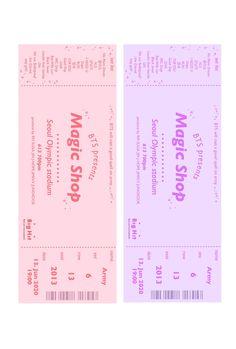 Pop Stickers, Printable Stickers, Printable Scrapbook Paper, Bts Tickets, Theme Bts, Kpop Diy, Bts Polaroid, Ticket Design, Kpop Posters