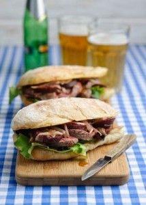 Warm Steak & beetroot sandwich