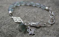 Sterling Silver Fluorite gemstone Lotus by RockCandyjewellery