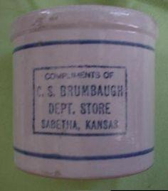 Beater Jar  Sabetha, Kansas Red Wing Stoneware, Stoneware Crocks, Primitive Antiques, Antique Glass, Urn, Kansas, Advertising, Clay, Vintage