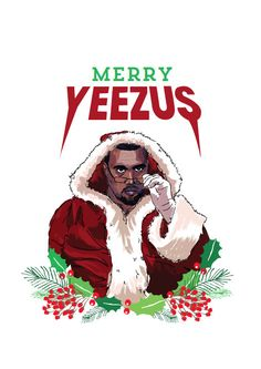Christmas card inspired by Kanye West. One of a set of four rap christmas cards. A6 size printed on uncoated white stock and comes with one C6