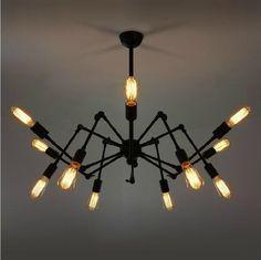 Industrial-style Edison bulb silk steampunk retro iron chandelier lighting Loft 12 pcs edison bulb lamp