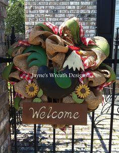 Burlap Rooster Wreaths