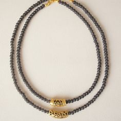 Layering necklaces Gray Beaded Necklace with gold by CharmByIA