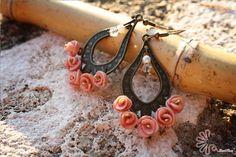 Orecchini con roselline in fimo