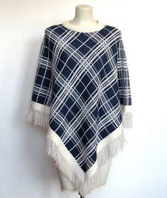 SOLD / #Vintage 1970s Navy Blue & White Plaid Knit Poncho by VelouriaVintage, $28.00