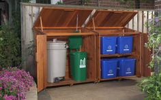 Outdoor recycling and trash storage solution. Might depend on what containers your community requires. But I like the lid style that keeps the garbage protected from elements and animals, especially the recyclables. I'm assuming the bottom blue bins are exchanged with the top bins when set out for pick up.
