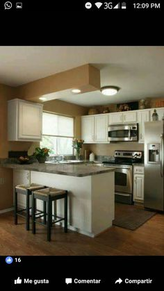 There is no question that designing a new kitchen layout for a large kitchen is much easier than for a small kitchen. A large kitchen provides a designer with adequate space to incorporate many convenient kitchen accessories such as wall ovens, raised. Kitchen Redo, New Kitchen, Kitchen Island, Kitchen Stools, Kitchen White, Bar Stools, Kitchen Cabinets, Bar Chairs, Island Bar