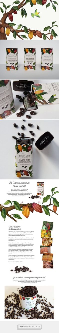 Simón Coll chocolate packaging on Behance by Charlotte Day curated by Packaging Diva PD. Decoration surrounding small tin to show detailed botanical illustration, of cocoa and native fauna that directly reference products Ghanaian origin