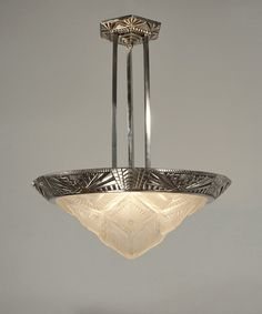 French 1930 art deco chandelier in nickel plated bronze and moulded-pressed glass. (paravas-ebay)