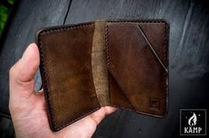 Wallet / card holder made from veg tanned leather. It is dyed brown and oiled, so it will create nice patina over time. Edc Wallet, Slim Wallet, Minimalist Leather Wallet, Small Coin Purse, Handmade Leather Wallet, Credit Card Wallet, Card Holder, Etsy, Leather Tooling