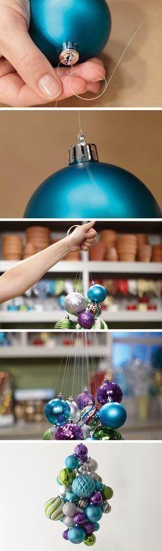 Tutorial en imágenes de lámpara de araña hecha con bolas de navidad. #DecoracionNavidad