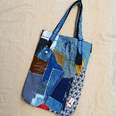 Multi fabrics patchwork tote bag denims grocery bag