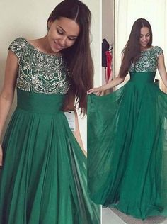 Green A-line round neck beaded chiffon long floor-length Prom Dresses special high quality,Cheap prom gown BD1705914