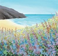 Meadow Bay by Judi Trevorrow. A beautiful Cornish coastline and cove. Prints available from Cornwall Art Galleries, with prices starting from for a canvas. Seaside Art, Coastal Art, Art For Art Sake, Environmental Art, Illustration Art, Illustrations, Cornwall, Printmaking, Watercolor Paintings