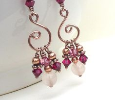 Bright pink earrings rose quartz earrings by CreativityJewellery