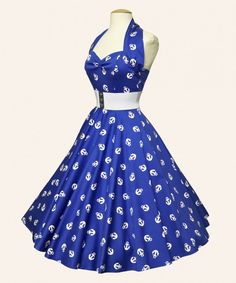 Vivien of Holloway's popular nautical anchor print Halterneck Circle Dress returns. 1950s Fashion Dresses, 50s Dresses, Pretty Dresses, Vintage Dresses, Vintage Outfits, Vintage Fashion, Rockabilly Dresses, Rockabilly Clothing, Halter Dresses