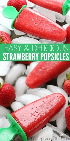 Strawberry popsicles are the perfect treat to make this Summer. Strawberry popsicles recipe tastes so refreshing. Try this fresh strawberry popsicle! Your kids will love these strawberry popsicles for summer treats! Home Made Popsicles Healthy, Healthy Popsicle Recipes, Homemade Popsicles, Homemade Ice, Fruit Recipes, Popscicle Recipes, Frozen Fruit Popsicles, Jello Popsicles, Fruit Ice Pops