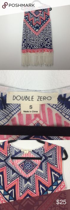 Double Zero tribal fringe tunic top size small This tunic top is like new! Vibrant tribal print with white fringe at the hem. Beautiful top! Double Zero Tops Tunics