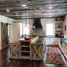 Rustic farmhouse kitchen with rustica hardware x barn door. @rusticahardware www.rusticahardware.com