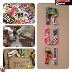 Cool idea for race running tags, badges. Buy cardboard letters at craft store. Use Mod Podge (or regular old white glue mixed with water, which works the same way). Layer, dry and hang! You can do your name, team name, or RUN....whatever has neaning to you.