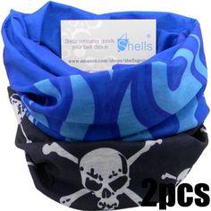 Shells® 2PCS Blask Skull Pattern Blue Flame Pattern Polyester Microfiber Outdoor Sport Magic Multifunction No Seam Headscarf Headwear Face Mask Neck Warmer For Motorcycle Bike Ski Outdoor activities Shells Group,http://www.amazon.com/dp/B00H7YEWTW/ref=cm_sw_r_pi_dp_oPXotb0R237KCW87