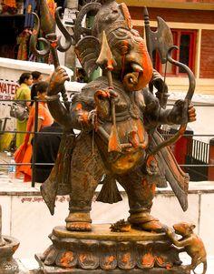 Statue of Lord Ganesha in warrior pose at Bhagsunag in District Dharmshala, HP, India.