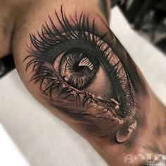 Teary Eye, Mens Inner Arm Realism Piece | Best tattoo ideas & designs
