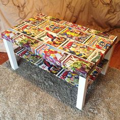 I'm sure my husband would love this table decoupaged with comic book covers. He's a comic art fan.